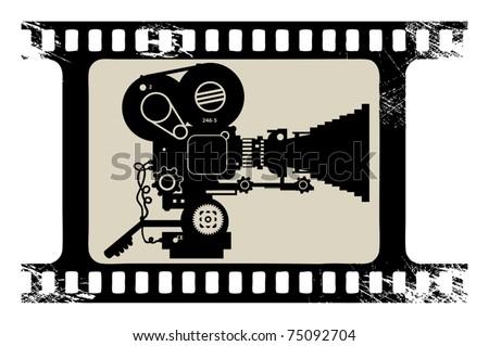 Film cinema camera in film strip frame, vector illustration - stock vector