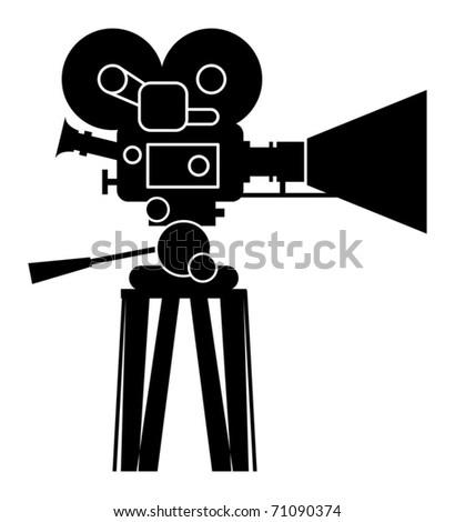 Film cinema camera, vector illustration - stock vector