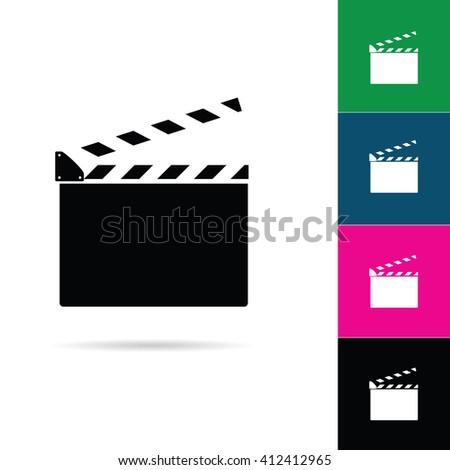 film clapper icon illustration in colorful - stock vector