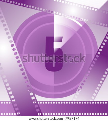 film countdown at number 5 - stock vector