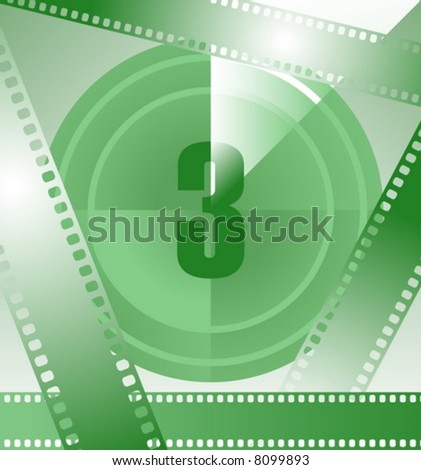 film countdown at number 3 - stock vector
