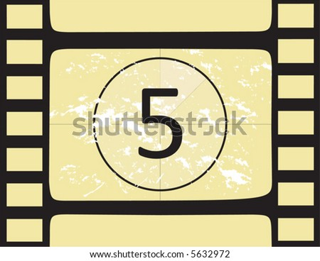 Film countdown at number 5. Vector illustration