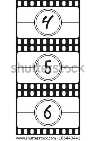 Film countdown numbers, hand drawing digits, vector illustration, part 2 - stock vector