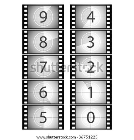 Film countdown. Vector. - stock vector