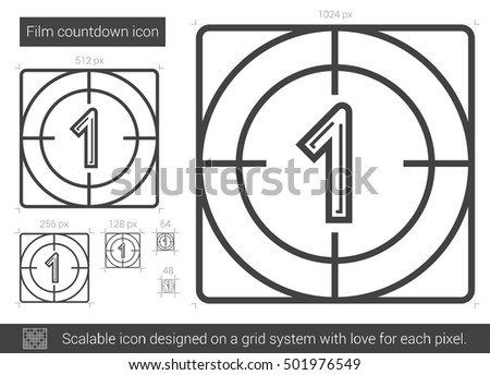 Film countdown vector line icon isolated on white background. Film countdown line icon for infographic, website or app. Scalable icon designed on a grid system.