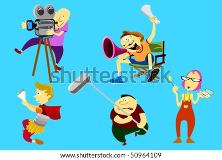 Film crew collection - stock vector