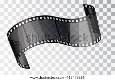 Film curved isolated on a transparent background. Transparent film. Stock Vector 10 EPS - stock vector