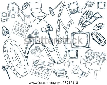Film Doodles - Vector - stock vector
