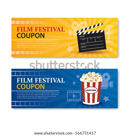 Film festival banner couponcinema movie card stock vector for Film festival brochure template