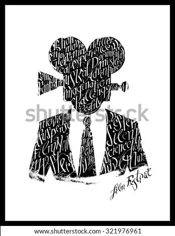 Film festival poster. Calligraphy silhouette - stock vector