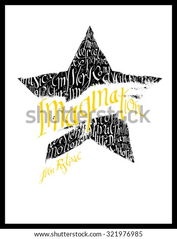 Film festival poster. Calligraphy star shape - stock vector