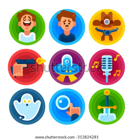 Film genres icon set. Comedy, drama, western, thriller, science fiction, musical, horror, detective, fantasy. Vector flat illustration. - stock vector