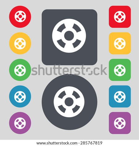 film icon sign. A set of 12 colored buttons. Flat design. Vector illustration - stock vector