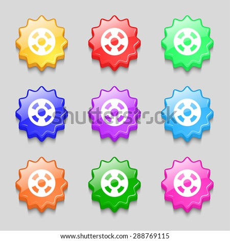 film icon sign. symbol on nine wavy colourful buttons. Vector illustration - stock vector