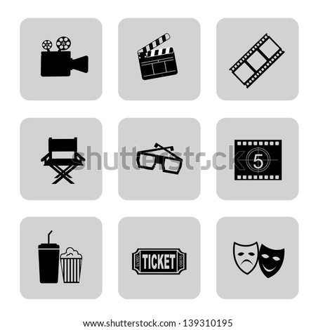 Film icons over white background vector illustration - stock vector