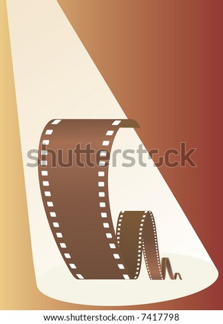 Film in beams of projector. Vector illustration - stock vector