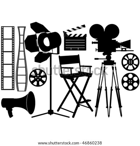 Film Industry silhouette icons on the white - stock vector