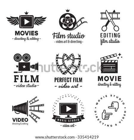 Film, movie and video logo vintage vector set. Hipster and retro style. Perfect for your business design. - stock vector