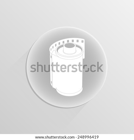 film movie over white background on a white button with shadow . vector illustration - stock vector