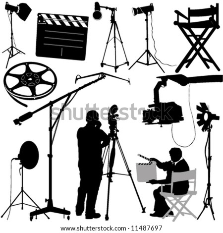 film objects and cameraman vector - stock vector