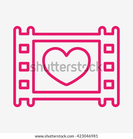 film photo video frame  celebration pink thin line icon  - stock vector