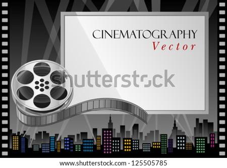 Film Reel and Theater Screen Billboard - stock vector