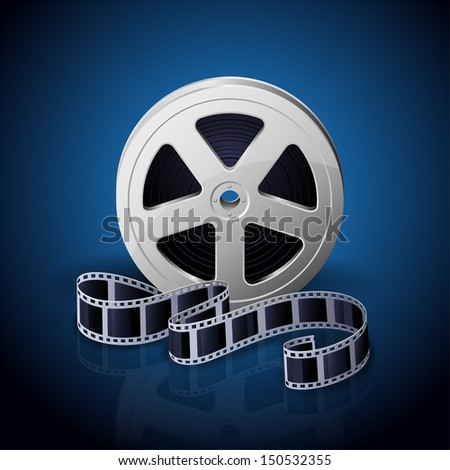 Film reel and twisted cinema tape on blue background, illustration. - stock vector