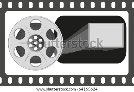 Film reel. Concept of Industry cinematographic. Vector Illustration. EPS8 - stock vector