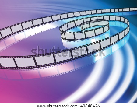 Film Reel on Abstract Liquid Wave Background Original Vector Illustration