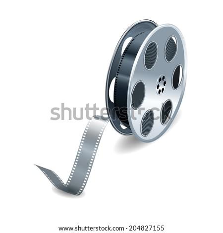 Film reel over white background. Vector illustration - stock vector