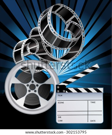 Film Reels and filmstrip. Clapper board  - stock vector