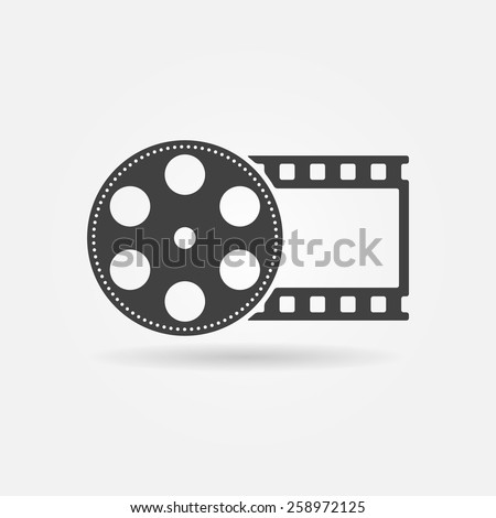 Film roll logo - vector black cinema and movie design element or icon - stock vector