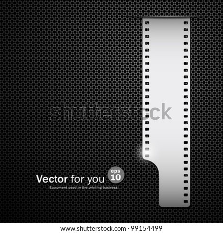 Film roll on black stainless steel backgrounds, vector illustration - stock vector