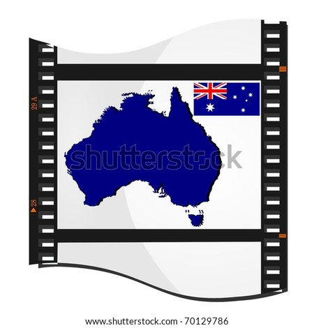 film shots with a national map of Australia - stock vector