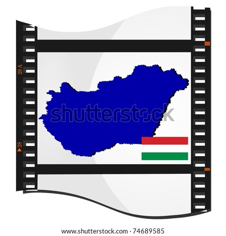 film shots with a national map of Hungary - stock vector