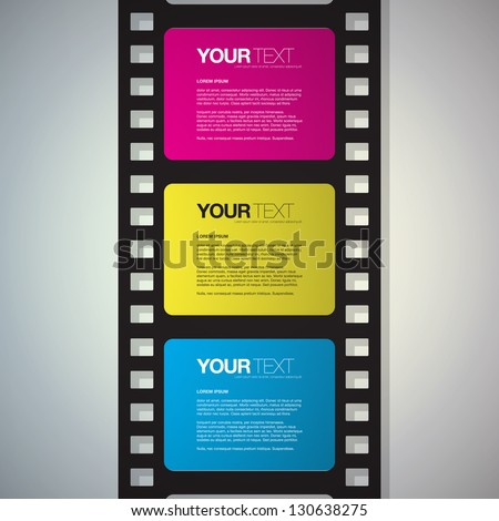Film strip design text box vector - stock vector