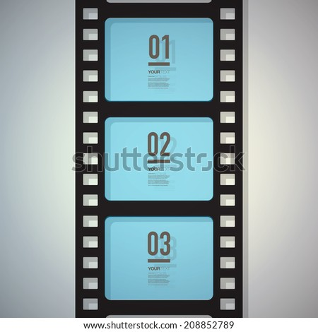Film strip design with your text and numbers  Eps 10 stock vector illustration  - stock vector