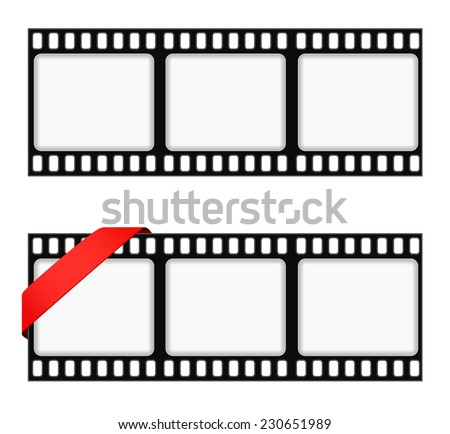 film strip frame background with ribbon - stock vector