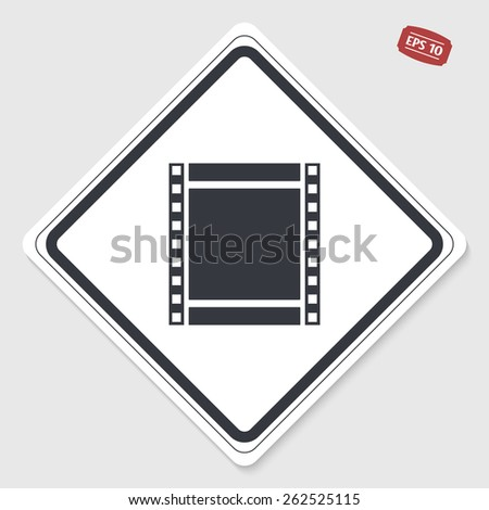 Film strip icon. Flat design style. Made in vector. Emblem or label with shadow. - stock vector