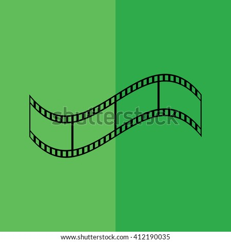Film strip /\icon on green background vector illustration - stock vector