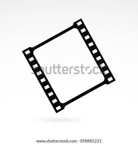 Film strip icon on white background. Vector art. - stock vector