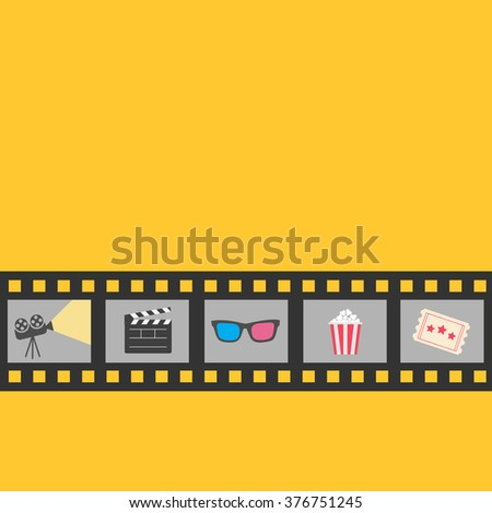 Film strip icon set. Popcorn, clapper board, 3D glasses, ticket, projector. Cinema movie night. Yellow background. Flat design style. Vector illustration - stock vector