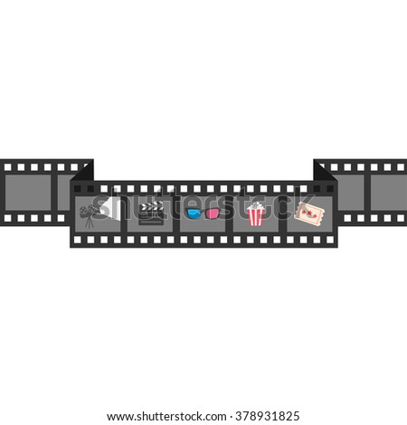 Film strip icon set. Popcorn, clapper board, 3D glasses, ticket, projector. Cinema movie night.  White background Isolated. Flat design style. Vector illustration - stock vector
