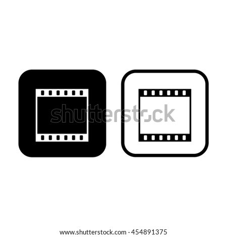 Film strip icon vector. Black and white - stock vector