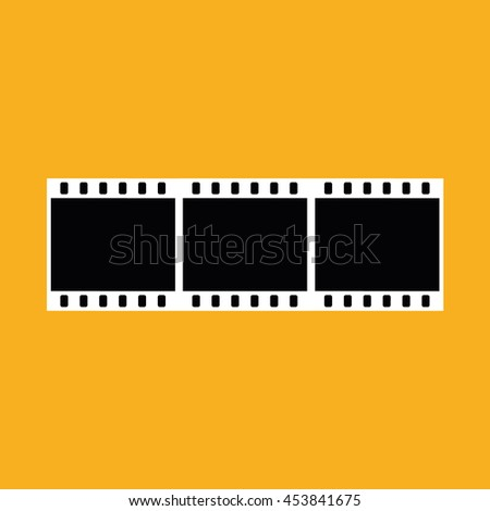 Film strip negative vector icon. Yellow background - stock vector