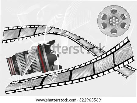 film strip roll set,Grunge at cinema,Cinema theme background - stock vector