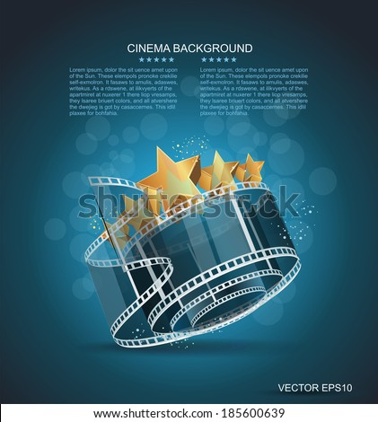 Film strip roll with gold star. Vector cinema background.  - stock vector