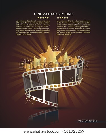 Film strip roll with gold stars. Vector cinema background. - stock vector