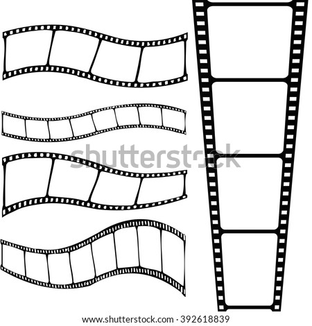 Film strip set. Collection of different shapes. Vector art.