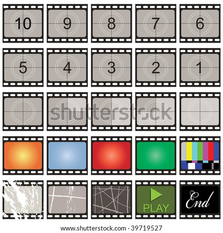 film strip stills with number countdown and blanks - stock vector